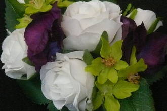 White Rose with Purple Hydrangea and Lime Corsage