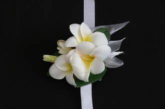 White with Yellow Centre Frangipani Wrist Corsage