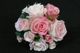 Mixed Pink, White & Blush Rose Round Posy