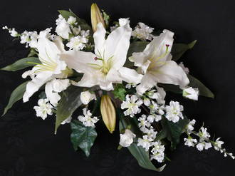 White Casablanca Lily, Rose Buds & Larkspur