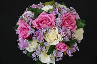 White & Fuchsia Roses with Lavender & Lilac Bouquet