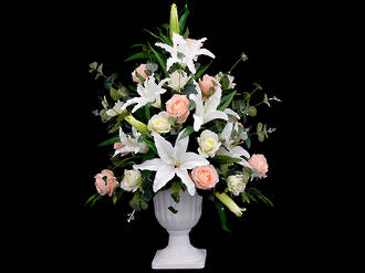 White and Peach Roses with Lilies