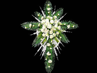 White Floral Cross – Silk Flowers