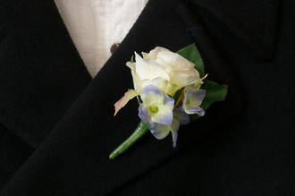Single White Rose & Blue Boutonniere