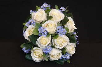 White Rose with Blue Forget-me-not Round Posy