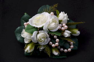 White mini Roses & Pale Pink Pearl Corsage