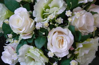 White Rose & Light Green Lizianthus Trailing Bouquets